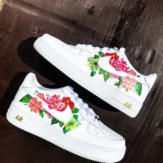 Custom Sneakers Nike Air Force 1 Flowers Nike Air Shoes White Nike Shoes Custom Sneakers Nike
