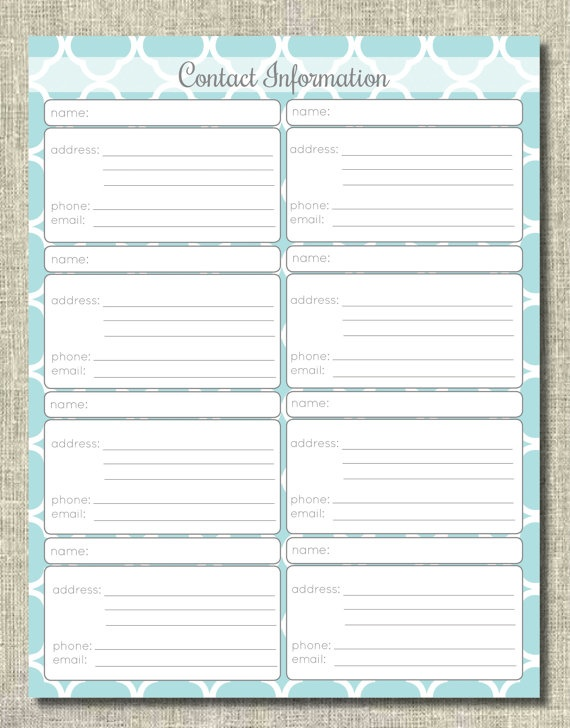 79 best Organization Printables images on Pinterest Planners - contact information template