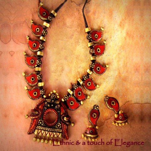 Terracotta Necklace Set with Jhukmas - Online Shopping for Jewellery Sets by Indulgence