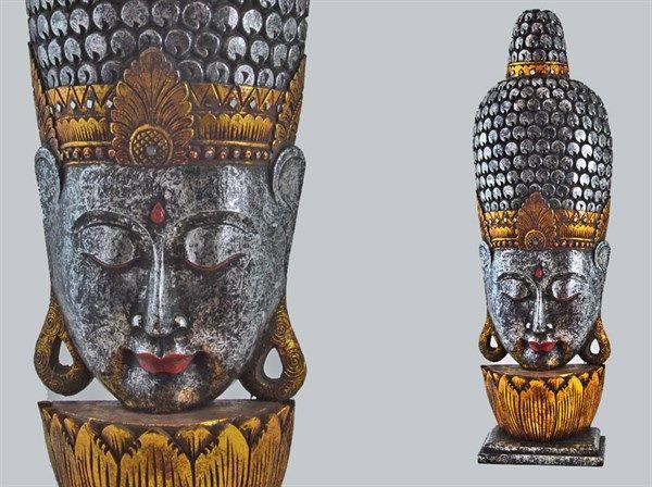 Silver Buddha face, ideal for meditation room! Viso Budda color Argento, ideale per rendere unico il tuo angolo meditazione! 100 cm