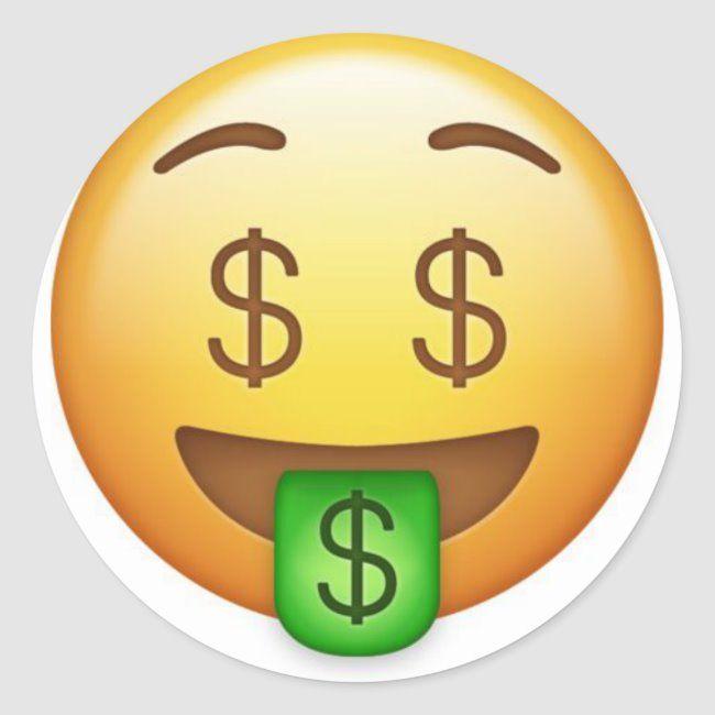 Money Mouth Hilarious Emoji Classic Round Sticker Zazzle Com In 2020 Money Emoji Emoji Wallpaper Emoji