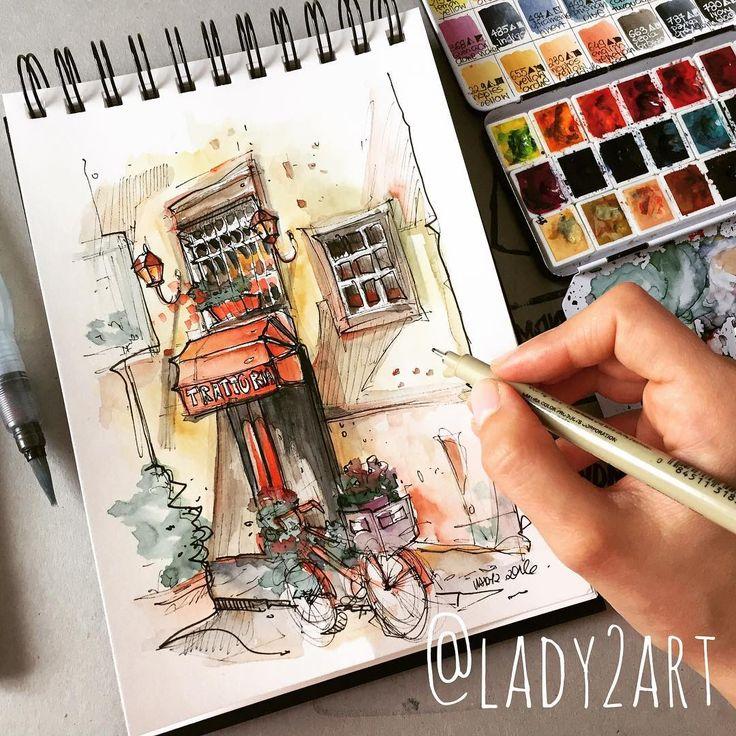 "Katarzyna A. Kozłowska on Instagram: ""Italy streets 💕✏️ # lady2 #art #artist #amazing #artnerd"
