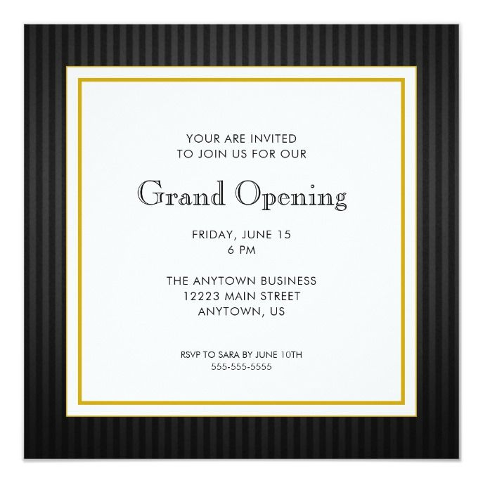 Grand Opening Business Professional Black Gold Invitation