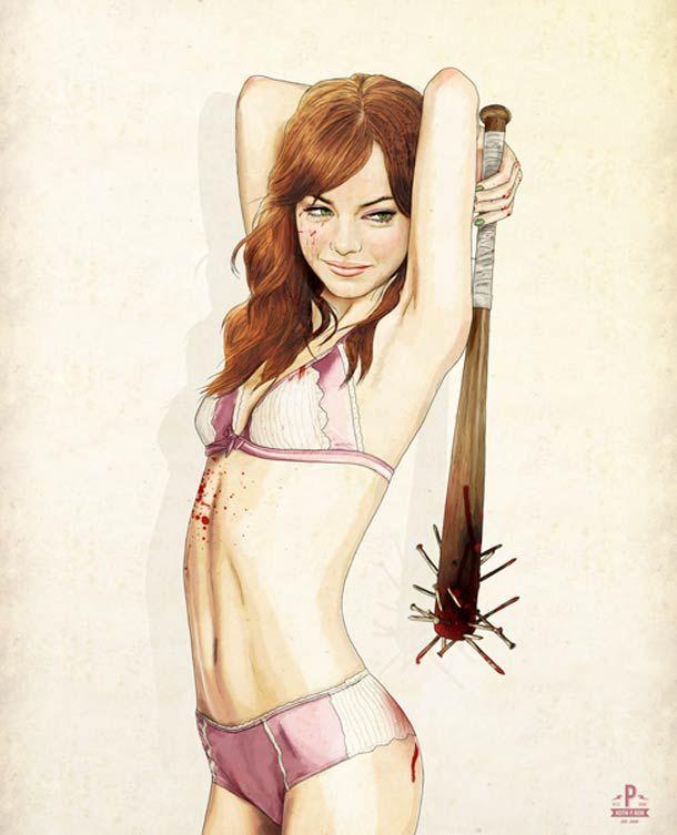 Illustrations de personnalité dans ambiance trash, réalisées par l'artiste Keith P. Rein  http://www.ufunk.net/illustration/slaughterhouse-starlets/#