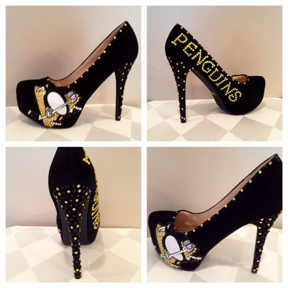 Hockey Heels  Pittsburgh Penguins heels Penguins by Blingshoeshop, $150.00