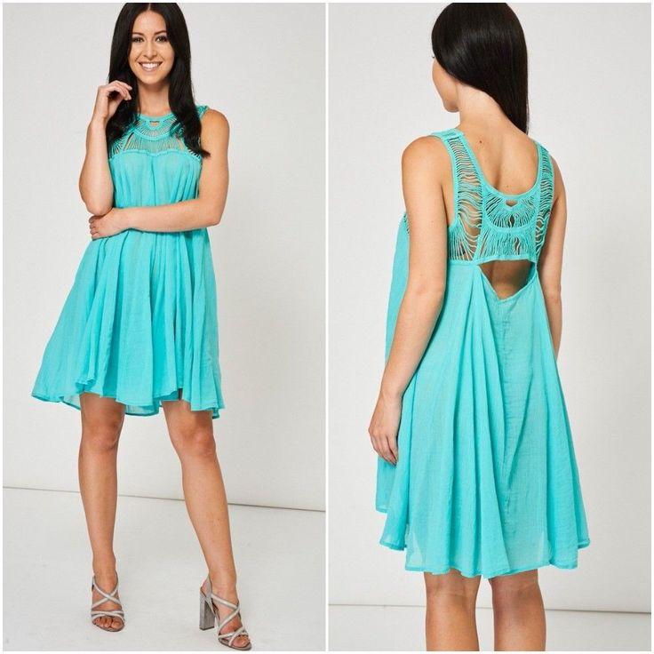 Womens Beach Sun Dress Cover Up Crochet Back Summer Blue Sizes UK 8 - 14 Holiday #Unbranded #KaftanBeachDress #Casual