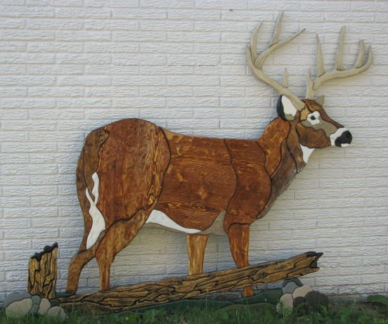 Darn near life size intarsia-style deer. Perfect for rustic cabin, fence decor, or man cave