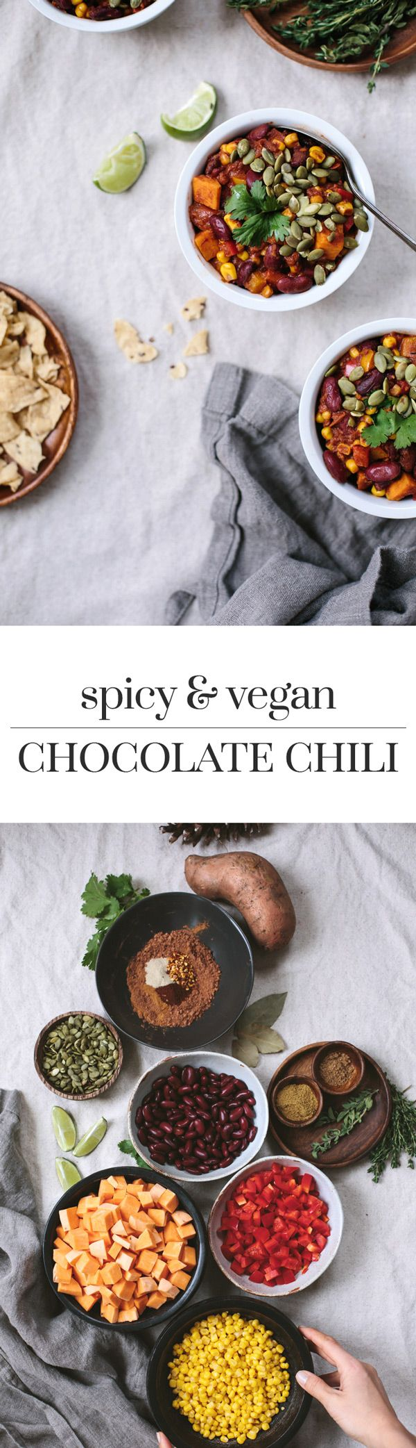 Spicy Vegan Chocolate Chili: An easy to make and vegan recipe made with sweet potatoes and cocoa powder. Heartwarming, filling, and packed with superfoods.