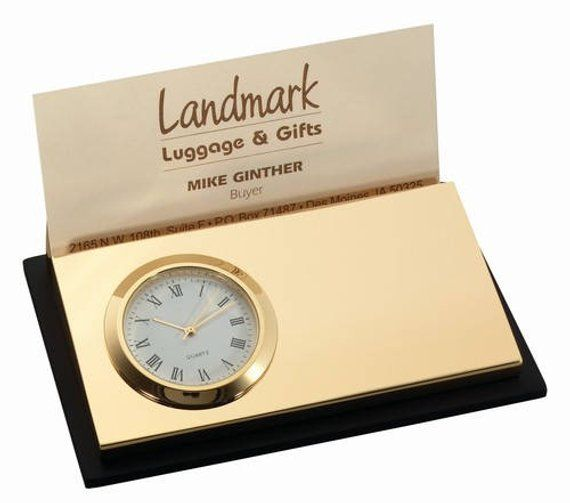 Personalized Free Engraving Clock with Business Card Holder
