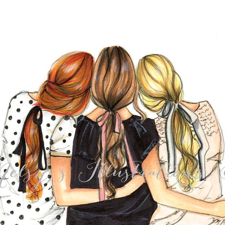 Ножницами, прикольные картинки с тремя девочками нарисованные карандашом