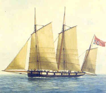 """The Jersey privateer """"Pitt"""" flying the union flag upside down indicating distress or the fact that she had been captured.  The """"Pitt was captured by the French frigate """"L'Amazone"""" in 1781"""
