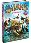 This is 'Spirit Animals' book 1 called 'Wild Born'.On the cover is the Four Fallen which are Great Beasts. (Briggan the wolf,Uraza the leopeard,Jhi the Giant panda and Essix the gyrfalcon.) In this book they look for Arax the ram's talisman (which are special gem/stone necklaces that give you special abilities) which is called The Granite Ram.