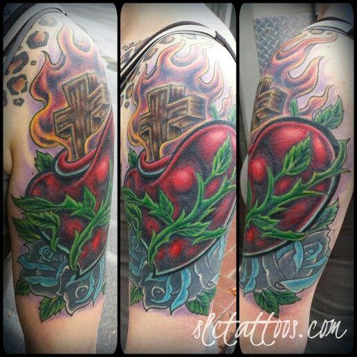 Big cover-up job by Jake. Lost the before pics, sorry.  SLC Ink Tattoo 1150 South Main Street Salt Lake City, Utah (801) 596-2061 www.slctattoos.com   #slc #801 #tattoo #slcink #saltcity #didthathurtslc #utahtattoo #saltlakecitytattoo #slctattoo #slctattoos #slctatart #saltlakecity #utah #slcinktattoo #tattooartist #sacredheart #sacredhearttattoo #rosetattoo #hearttattoo