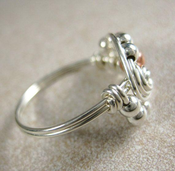 Metales mezclados anillo alambre envuelta cobre y plata Pi
