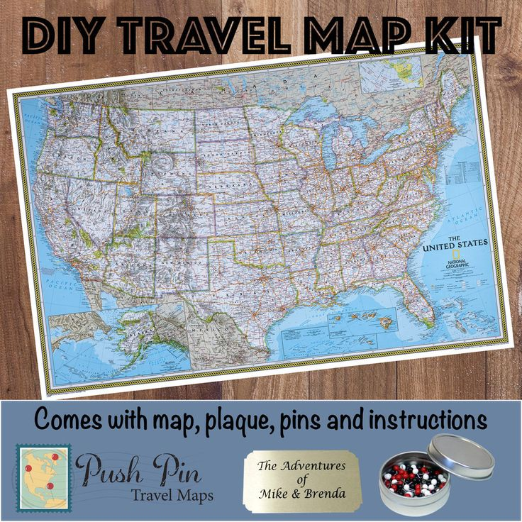 Classic Us Push Pin Travel Map Kit A Detailed Map Of The Us That Comes