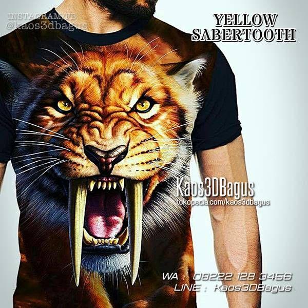 KAOS HARIMAU, Kaos MACAN, Kaos TIGER, Kaos 3D, Yellow Sabetooth, WA : 08222 128 3456, LINE : KAOS3DBAGUS, https://kaos3dbagus.wordpress.com/2015/09/11/jual-kaos-3d-harimau-kaos-tema-harimau-kaos-gambar-macan-tiger-3d-t-shirt/