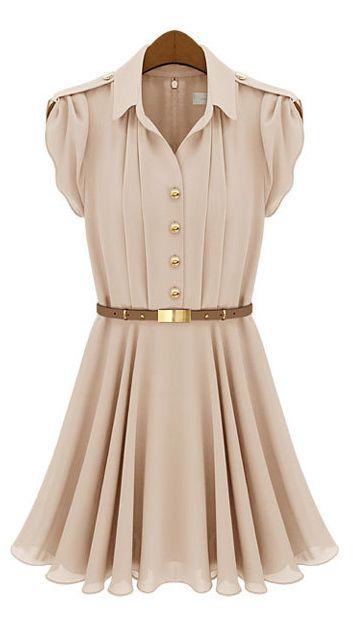 Lapel single-breasted waist flounced dress
