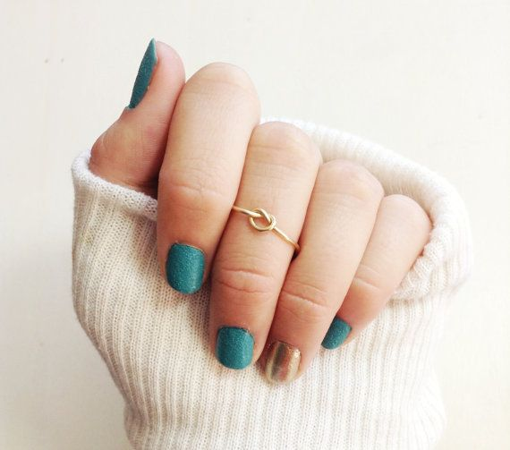 Dainty Gold Knot Ring Adjustable and Stackable Gold or by xoxowire