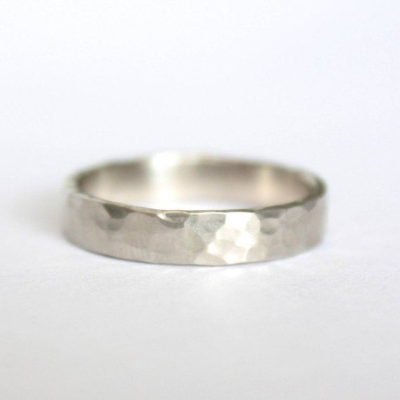Hammered Gold Wedding Ring 14k White Gold Ring Mens Wedding Ring 4mm Wedding Band Shiny Or Matte Finish Eco Friendly Recycled Gold Wedding Rings Sets Gold Hammered Gold Wedding Ring