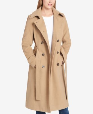 Tommy Hilfiger Petite Double-Breasted Midi Trenchcoat - Tan/Beige P/XXL