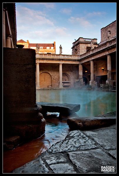 The Roman Baths, Bath    The Roman Baths at Bath, Somerset, UK.    One of the few places where a natural thermal spa occurs.
