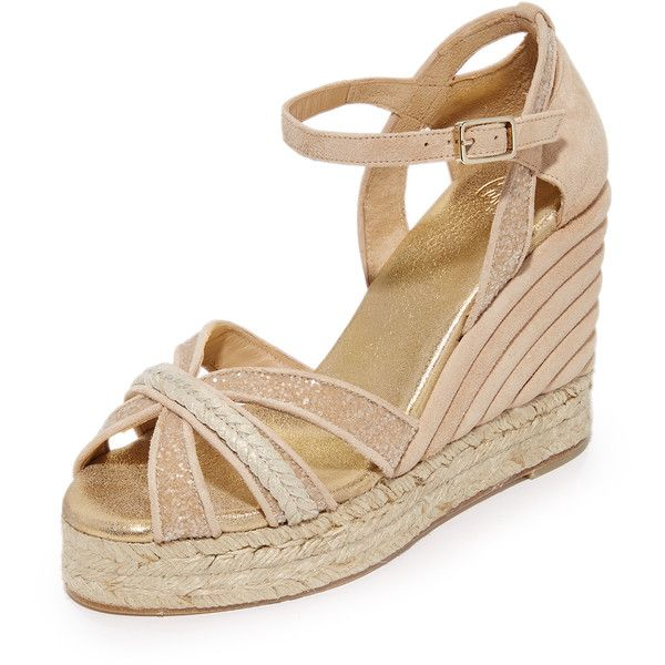 Castaner Wedding Sparkle Crisscross Wedge Espadrilles ($445) ❤ liked on Polyvore featuring shoes, sandals, nude, espadrille sandals, wedge sandals, woven leather sandals, metallic platform sandals and espadrille wedge sandals