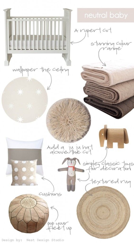 A neutral nursery doesn't have to be bland.  add texture to the room to  prevent it from being a beige or white overload and you will create a  soothing and elegant nursery for your little one.cot / linen / wallpaper / juju hat / elephant / cushion / cushion / rabbit / pouffe / rug