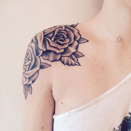 Rose shoulder tattoo google search tattos pinterest for Rose tattoo on back shoulder