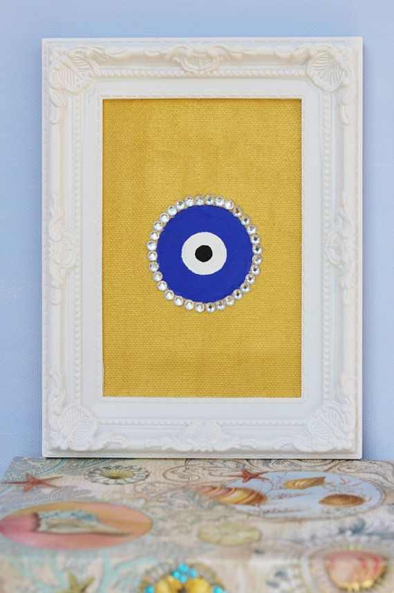 Evil eye painting on canvas with jewels bihadesigns for How paint on canvas