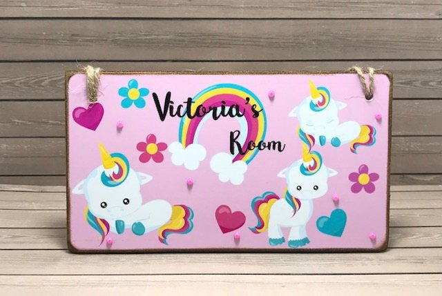 Pink Rainbow Unicorn Door Name Sign PERSONALISED with any 2 names girls plaque