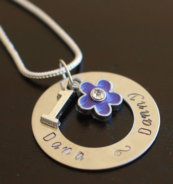 Blue Flower and Number Personalised Necklace by Giftitright on Etsy