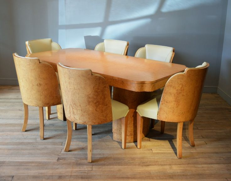 Art Deco Burr Walnut Dining Table Chairs By Epstein
