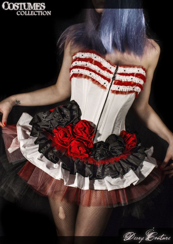 GARDEN ROSES Burlesque COSTUME in white, red and black taffeta made to order, steel boned corset, custom size.