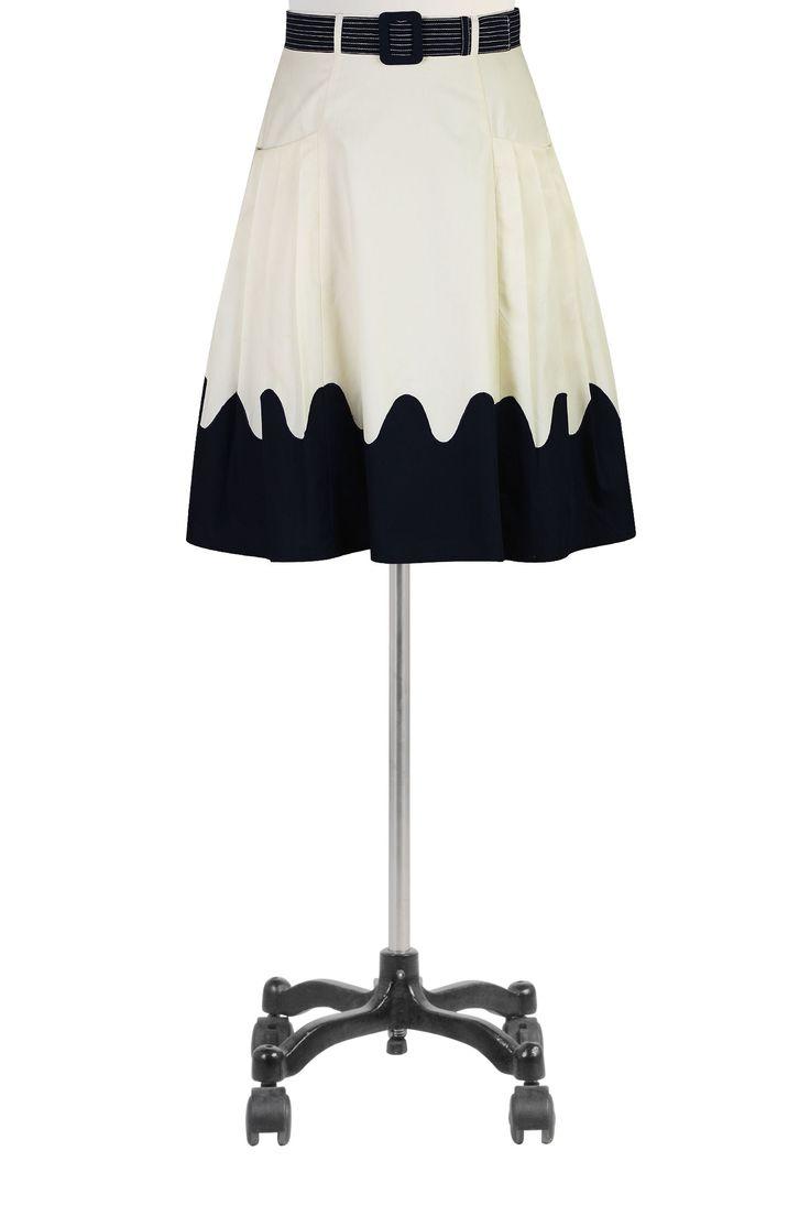 Tarak Trim Poplin Etekler, İki Renkli Kuşaklı Etekler Kadın siyah etek ve elbiseler - Pamuk, Uzun, Plus Size, A-line, Kalem - Bayan tasarımcı etekler - | eShakti.com