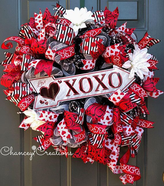 valentines day wreath front door wreath welcome love with this red black and white valentines day wreath constructed on a wire wreath frame and using - Wire Wreath Frame Wholesale