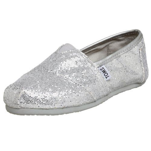 """TOMS shoes ~ silver glitter! Believe it or not these go with everything, even jeans and a tshirt. Love shoes, love glitter ~ win-win! Valentine's day gift, add a card """"Your sole sparkles""""  $53.99"""
