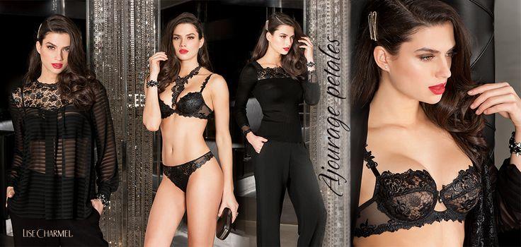 Nejkrásnější novinkou je temně černá kolekce značky Lise Charmel Ajourage petales. Díky procesu kalandrování působí povrch materiálu lesklým dojmem a to v kombinaci s hrubou krajkou a efektními detaily vytváří rafinované a trendy modely. Kromě prádla nabízí kolekce také noční košilky či trika.