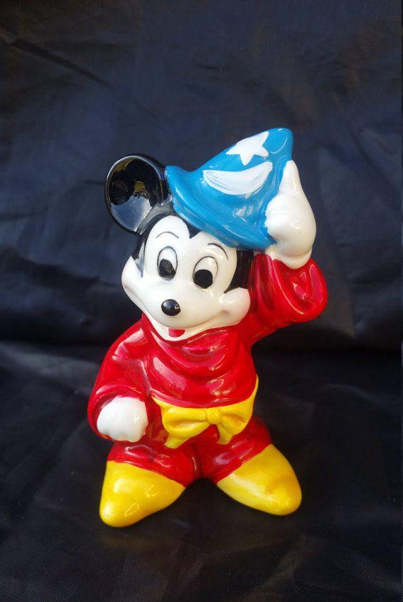"Disney Figure Mickey Mouse as the Sorcerer's Apprentice sale 3.5"" Ceramic low price  Mint VintageMickeyMouseGlazedCeramicFigurine"