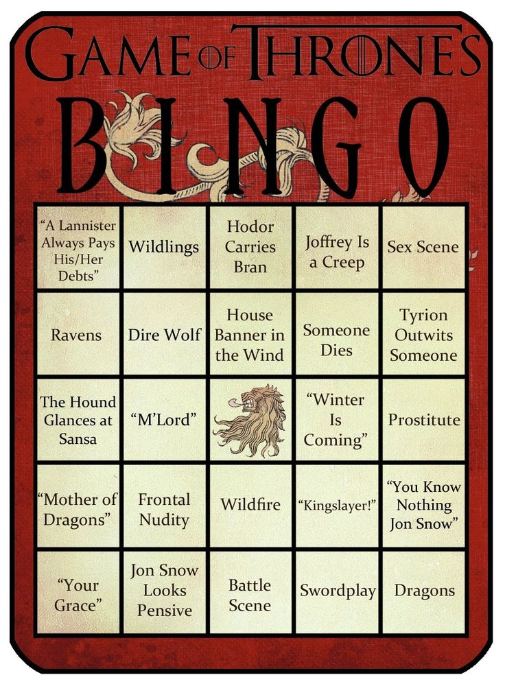 Game o' Thrones bingo card