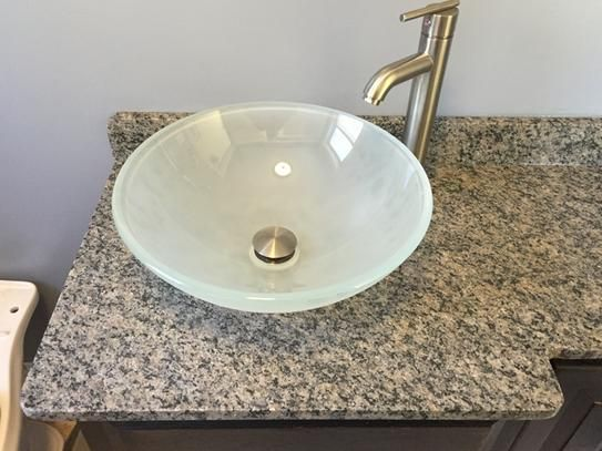 Vigo Glass Vessel Sink in White Frost with Faucet Set in Brushed Nickel VGT270 at The Home Depot - Mobile