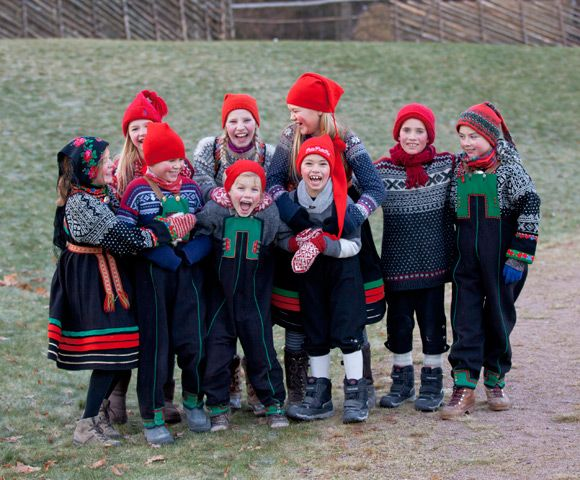 Bunad and sweaters from Setesdal, Norway