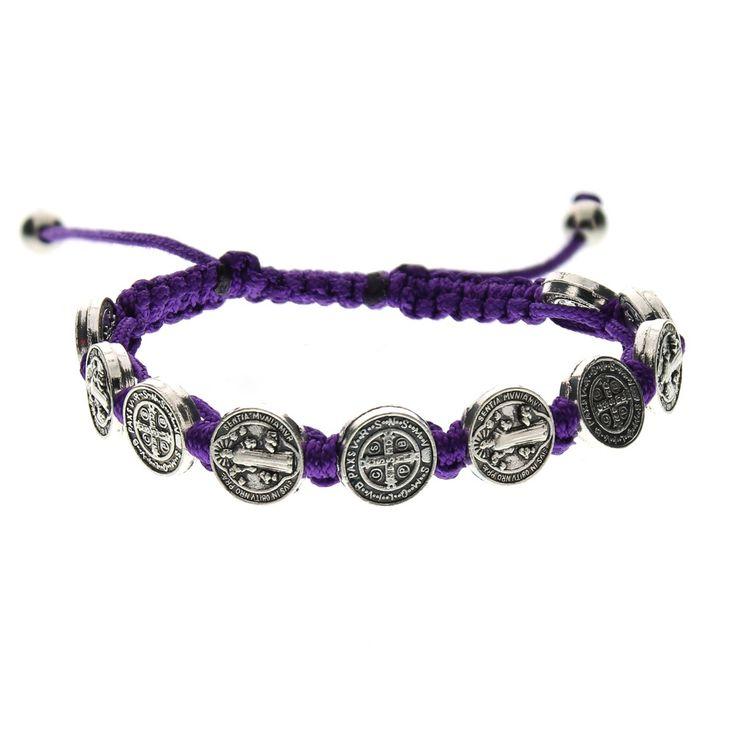 Purple St. Benedict Woven Bracelet   The Catholic Company