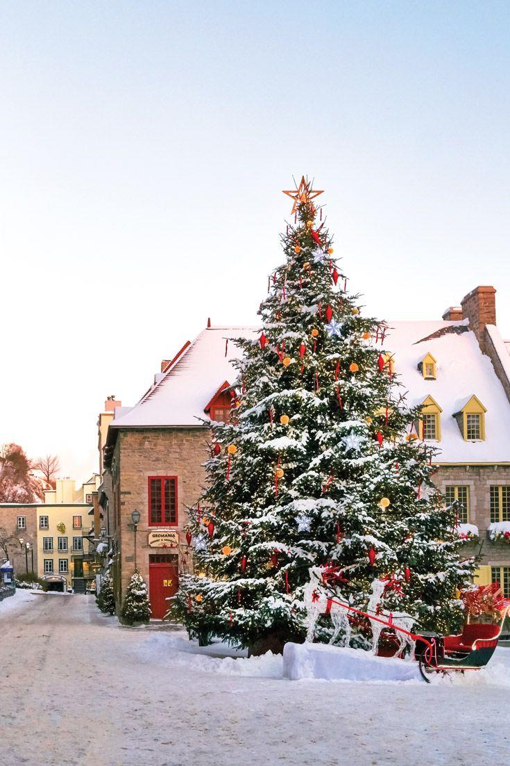 Joyeux Noel From Quebec City Victoria Magazine Christmas Scenery Outdoor Christmas Christmas Scenes