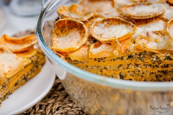 Zapiekanka z batatami, jarmużem i komosą ryżową
