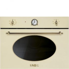 Colonial Oven (SF4800MPO), compact #microwave #oven #microwave_oven with #grill, #cream one, by Smeg IT