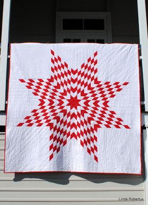 Red and white Lone Star Quilt