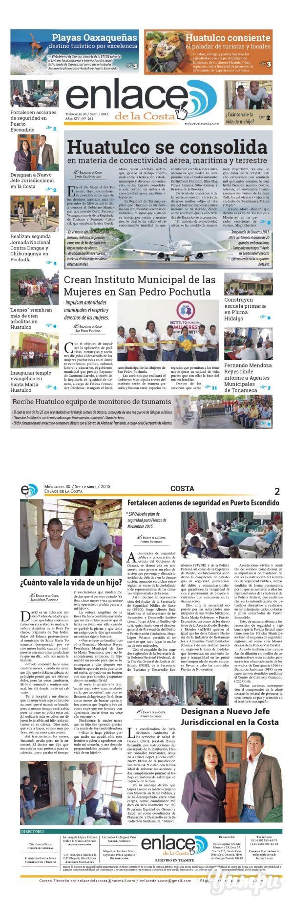 Edición 261; Enlace de la Costa - Magazine with 16 pages: Edición número 261 del periódico Enlace de la Costa, editado y distribuido en la Costa de Oaxaca, con información de la región y sus municipios.