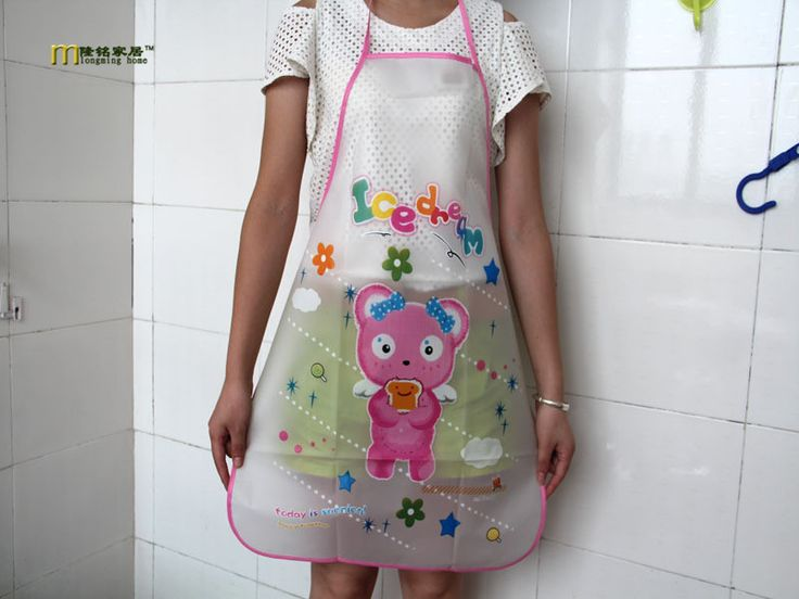 1PC Longming Home Cute korean Hello Kitty PVC Apron Kitchen Accessories House Cleaning House Keeping Anti Dust pinafore LB 262 #Affiliate