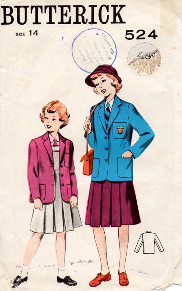 Rare sewing pattern for a girl's school blazer, Butterick pattern 524 circa 1950s. ~~ The blazer that's styled perfectly for all of her school and sport needs. Handsome details include neat notched lapel collar, handy pockets, three button closing. She can sew her school emblem on the breast pocket.