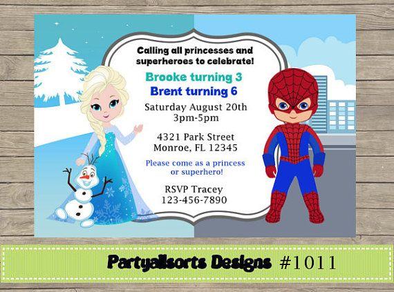 083 DIY   Princess/ Elsa And Spiderman/ Superhero Party Invitations Cards